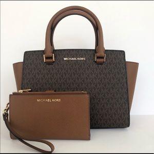 2pc Michael Kors Selma satchel double zip wallet
